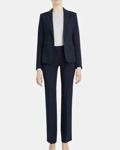 Theory Women's Gabrielle Wool One Button Blazer + Pants Set in Navy Blue Size 0