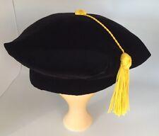 Graduation Doctoral Tam Black Velvet Faculty PhD w/ Gold SilkyTassel -S/M