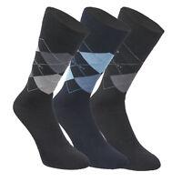 Jockey Mens Designer Argyle Diamond Print Multi 3 Pack Cotton Rich Calf Socks