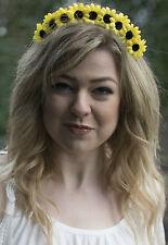 Small Sunflower Flower Hair Crown Yellow Vtg Boho Headband Festival Daisy V40