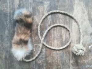 Handmade natural rabbit skin eco-friendly Dog Chaser toy with organic linen rope