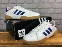ADIDAS MENS UK 10 EU 44 2/3 VRX LOW WHITE BLUE RED LEATHER GUM SOLE TRAINERS T