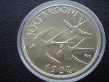 Estonia 1992 silver coin 100 krons   Swallows  birds