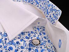 Mens White Herringbone Formal Business Dress Shirt Blue Paisley Floral Sexy Boss