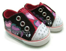 """Black Heart Slip on Canvas Tennis Shoes made for 18"""" American Girl Doll Clothes"""