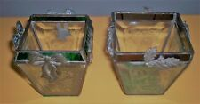 LOT OF TWO HANDMADE IN USA CHRISTMAS CANDLE HOLDER  STAINED AND ETCHED GLASS