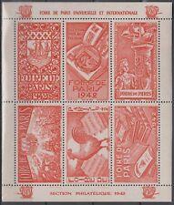 France Paris Fair 1942, Vignette, Sailing Ship, Stamp Collecting,  Cock, Red