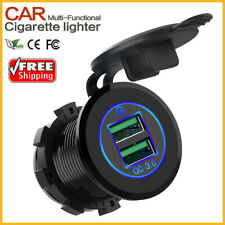 12V/24V QC3.0 Dual USB Charger Socket Power Adapter Outlet 36W For Car Boat ATV