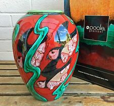 RARE -NICOLA MASSARELLA, POOLE POTTERY- LARGE PUFFIN BIRD RED/GREEN OVIFORM VASE