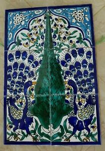 Blue Peacock Hand Painted Moorish Style Ceramic Tile Mural-Disrupted shipping