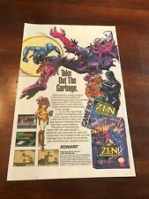 """1993 VINTAGE 6.5""""x10"""" PRINT AD FOR NINTENDO GAME BOY+NES ZEN INTERGALACTIC NINJA"""