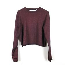 & OTHER STORIES Size S Maroon Red Metallic Cropped Sweater Long Sleeve Oversized