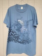 New listing Vintage 1990s T Shirt Large Blue Dolphin Shipwreck (as-is w/stains)