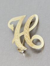 Brosche Gold 585 - Goldbrosche - 14 kt Gold - Buchstabe H