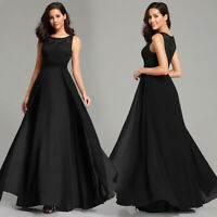 UK Ever-Pretty Lace Round Neck Long Evening Party Dress A Line Wedding Prom Gown