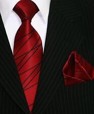 Binder de Luxe Designer Krawatte Einstecktuch Krawatten Set Tie 412 Bordeaux Rot