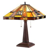 "Handcrafted Mission Tiffany Style Stained Glass 2 Light Table Lamp 16"" Shade"