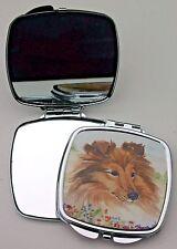 SHETLAND SHEEPDOG SHELTIE DOG Sable colour COMPACT MIRROR SANDRA COEN ART PRINT