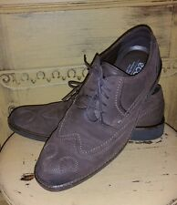 ECCO BROWN NUBUCK LEATHER WINGTIPS DRESS OXFORD SHOES MENS 42 SHOCK POINT 9 M
