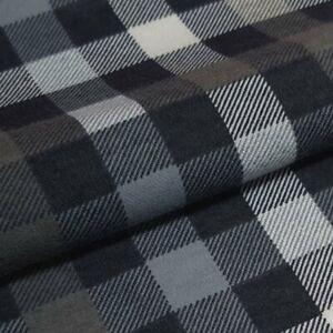 Flanell Meterware 1lfm 100% Baumwolle 1,5m breit Karo kariert Buffalo Weiß Grau