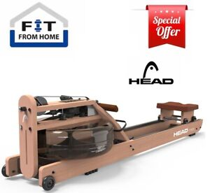 HEAD Rowing Machine Water Resistance Home Gym Exercise Rower Premium Walnut Wood