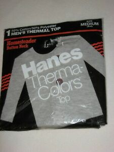 Vintage Hanes Thermal Henley Button Collar Shirt Men's Medium Gray