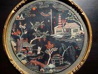 Grande broderie Chine début XXème, superbe état belles couleurs cadre d'origine