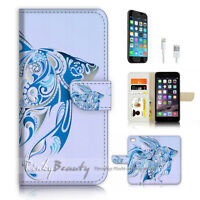 ( For iPhone 7 Plus ) Wallet Case Cover P3248 Gold Fish