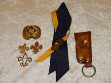 Nice Lot Vintage Boy Scout Items Pins Knife & Clippers Leather Case Scarf Slide
