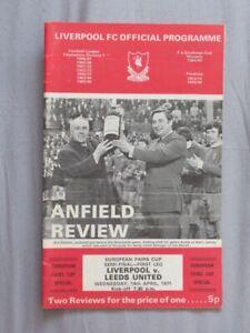 Football Programme Liverpool v Leeds EFCSF/1 1970/71