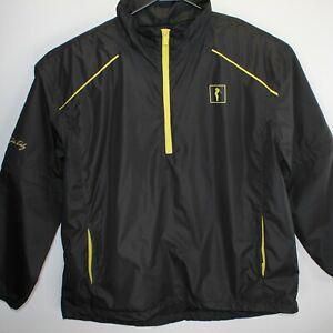John Daly Grip it & Rip it Men XL 1/4 Zip Black Golf Rain Jacket w/ Zip Sleeves