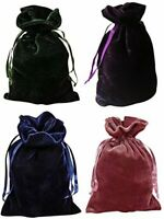 "Velvet Bags Lot of 4 Hunter Green, Navy, Purple, Rose 6"" x 9"" Tarot Dice Jewelry"