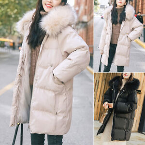 Women Parka Hooded Winter Down Puffer Quilted Jacket Long Coat Plus Size Outwear