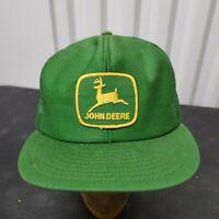 Vintage John Deere Louisville Mfg Snapback Cap Trucker Hat Yellow Patch USA Farm
