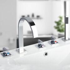 Bathroom 5 PCs Chrome Bath Tub Mixer Taps With Plastic Hand Shower Faucet Units