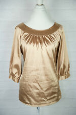 AGB Byer Women's Top Blouse Gold Size L Large Dressy 3/4 Sleeves silky