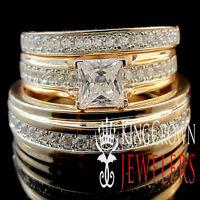 Real Silver 14K Rose Gold Finish Lab Diamond Trio Bridal Wedding Ring Band Set
