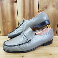 Barker Mens Grey Loafer Shoes UK 9 Penny Leather Slip On Dress Shoes Formal Wear
