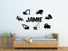 Personalised Kids Trucks And Diggers, Wall Art Vinyl Sticker Bedroom Decor