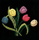 Vintage Hooked Floral Tapestry on Velvet - Hand Made - Canada - Circa 1950's