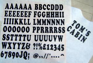iron on transfers 35mm black 77. A-Z LETTERS and 10. NUMBERS t-shirt printing