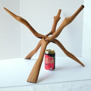 """Z. Y. India 24.5"""" Large Wood Cobra Tripod Stand, Folding Oiled Hand-Carved Decor"""