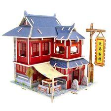 3D Jigsaw Wood Miniature 1/24 Diy Doll House Kit Furniture Model Chinese Inn