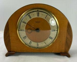 Vintage Smiths 30 hour Wind Up Small Mantle Desk Clock Wood Case