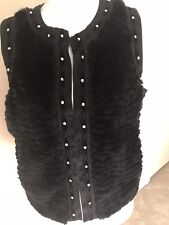 Democracy Medium Black Faux Fur Silver Studded With Lace Edging Sleeveless Vest