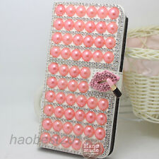 Handmade Bling Crystal Diamonds PU leather flip stand wallet Phone case cover #C