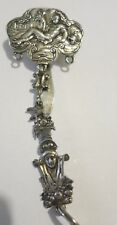 ENGLISH  HEAVY STERLING SILVER TAG KEY CHAIN HOLDER PENDANT SIGNED W/CROWN