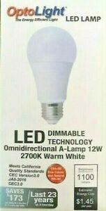 A19, LED Dimmable Light Bulb, 12 Watt = 75 Watt, E26 OptoLight, SAVE$$