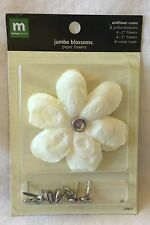 NEW Making Memories Jumbo Blossoms - 8 Paper Blossoms With Crystal Brads Cream