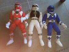 "MIGHTY MORPHIN POWER RANGERS Pal 20"" Plush LOT of 3 Red & Blue, White Ranger"